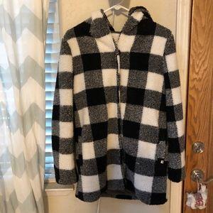 Billabong fuzzy plaid jacket